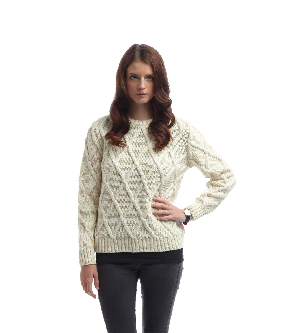 Ladies Cross Hatch Jumper - Cream