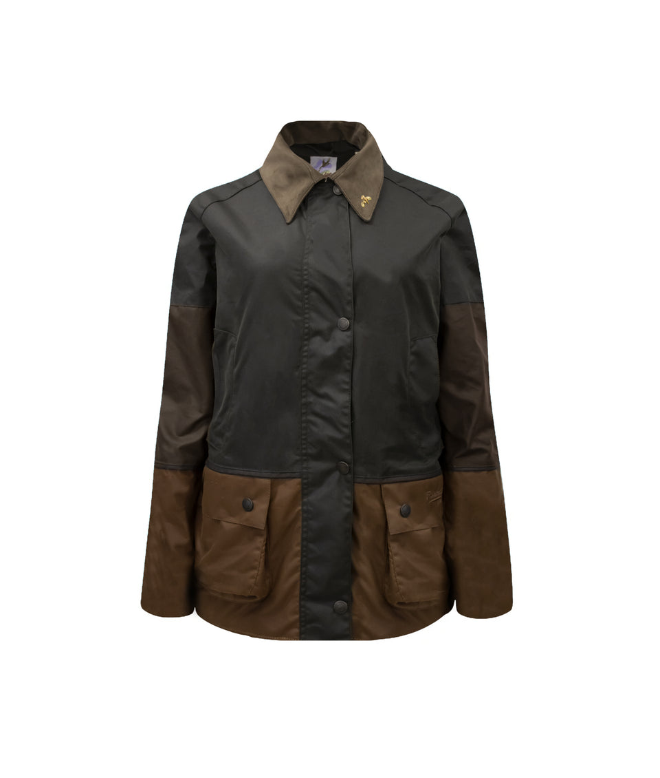 Ladies Landowner Tri-Colour Wax Walking Jacket - Forest