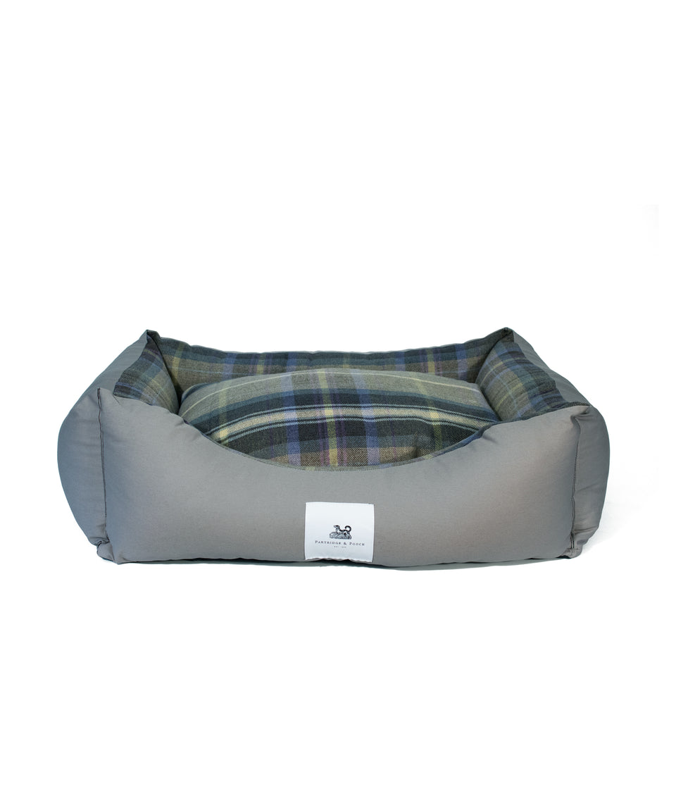 Amherst 2 in 1 Dog bed - Sterling Silver with Blue Tweed Check