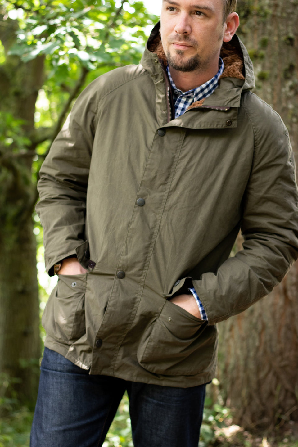 Landowner Hooded Wax Walking Jacket - Khaki