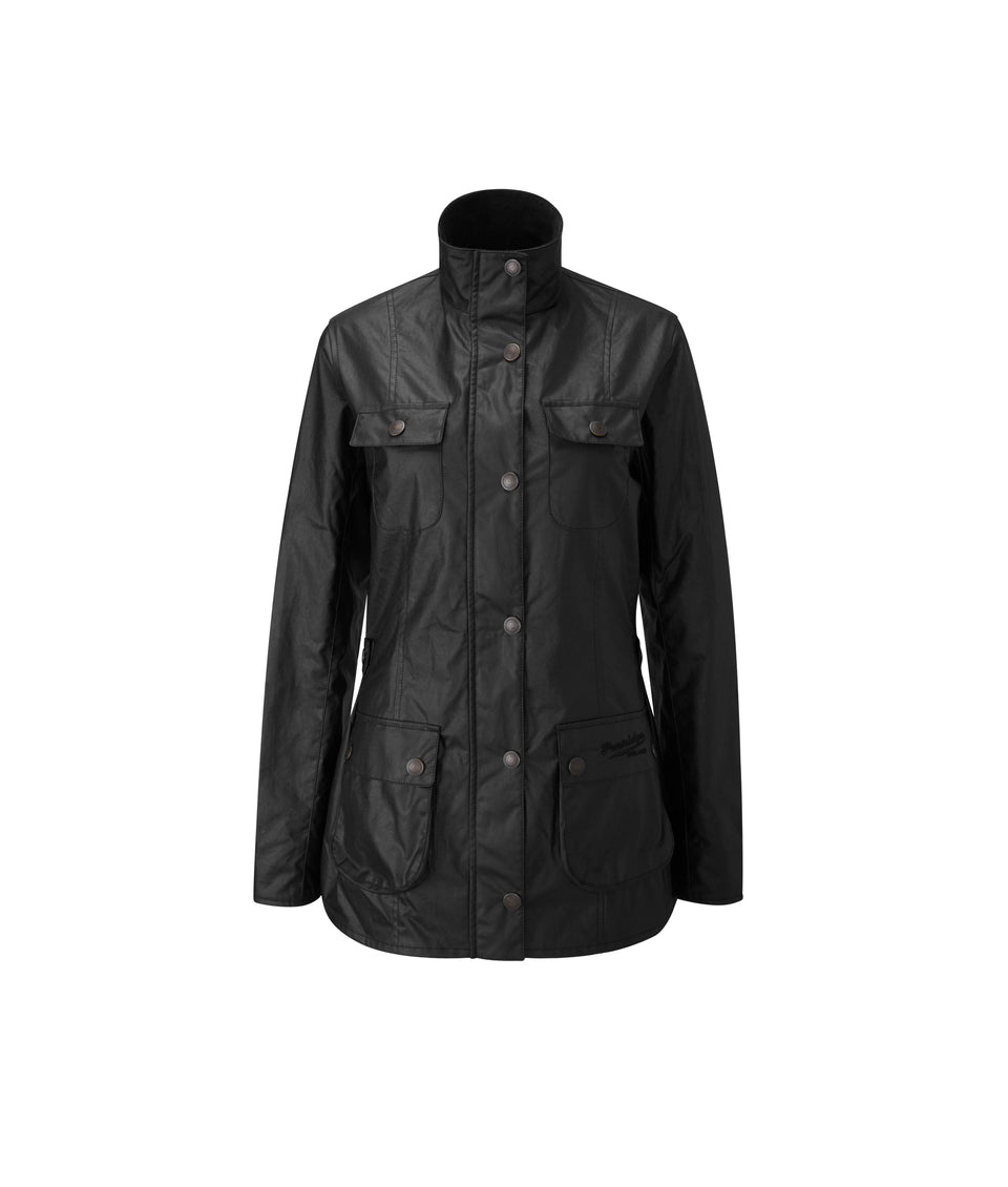 Ladies Colt Lightweight Wax Biker Jacket - Black
