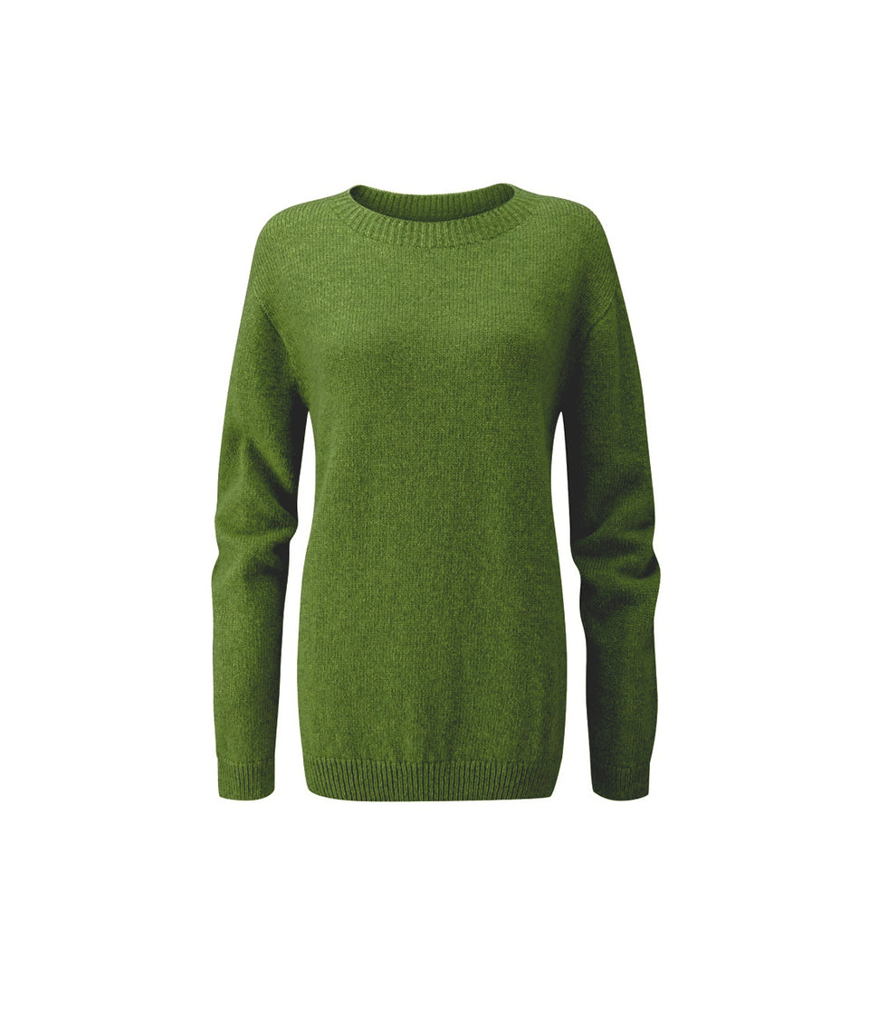 Ladies Crew Neck Shetland Jumper - Leprechaun Green