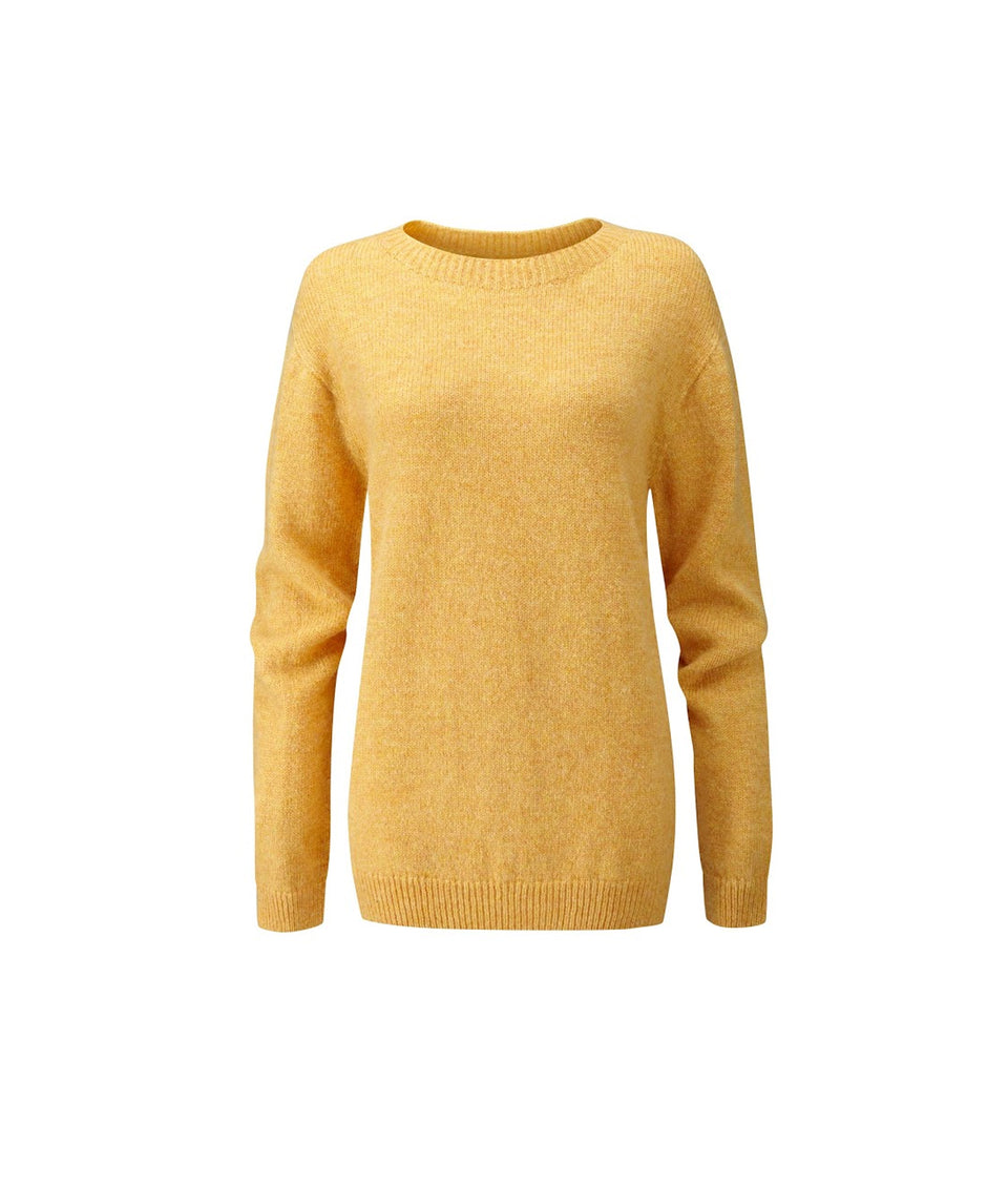 Ladies Crew Neck Shetland Jumper - Marzipan Yellow