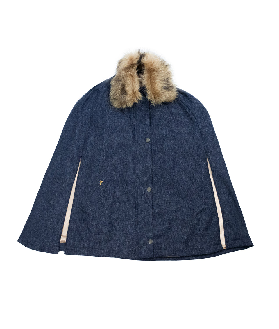 Newbury Tweed Cape with Faux Fur Collar - Blue