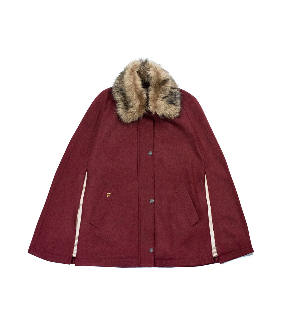 Newbury Tweed Cape with Faux Fur Collar - Berry