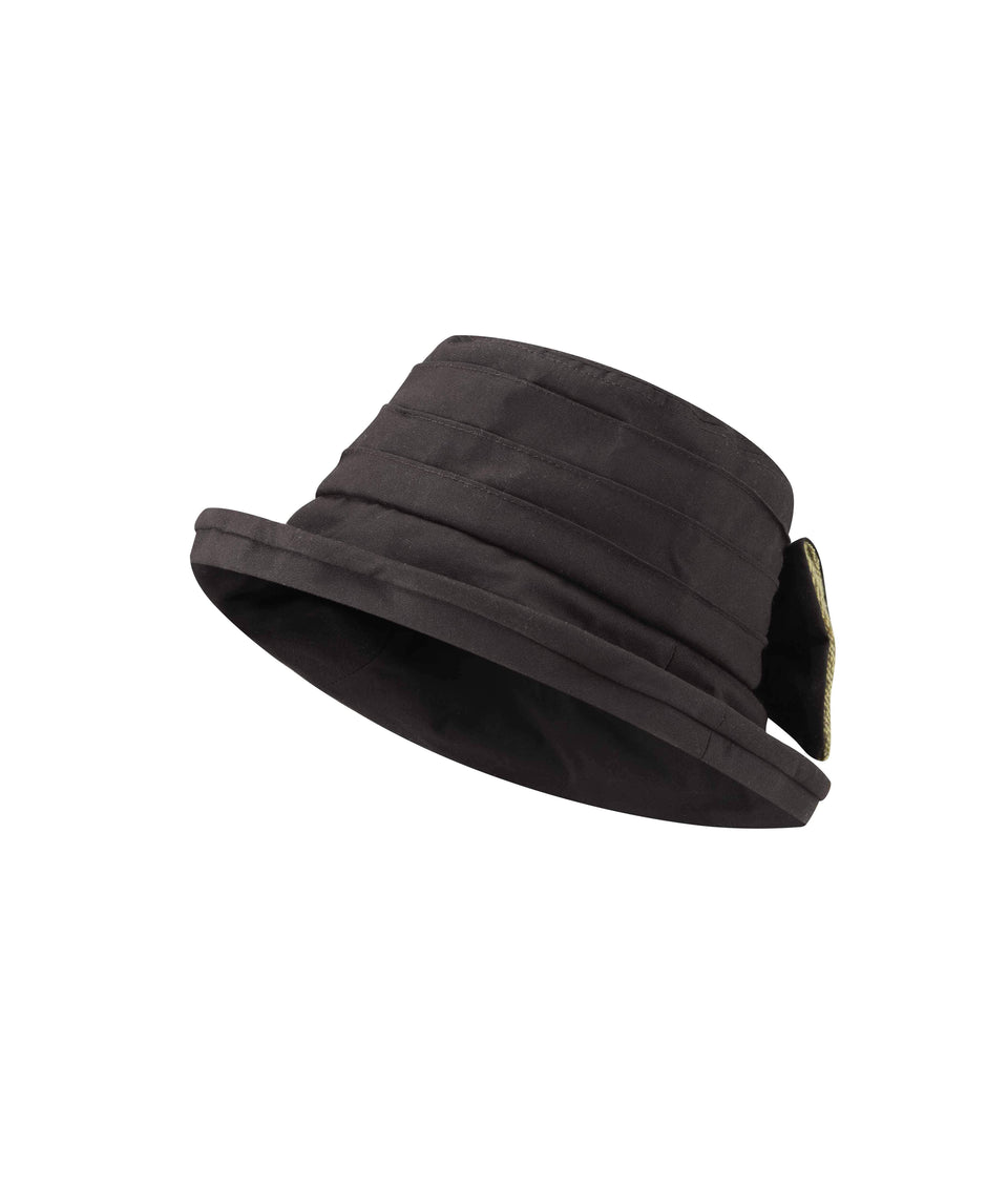 Ladies Bow Hat - Brown Wax
