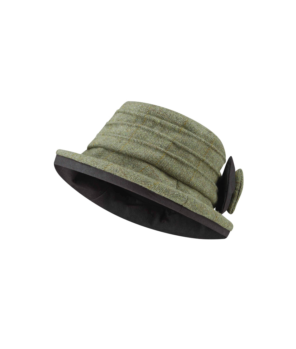 Ladies Bow Hat - Green Tweed