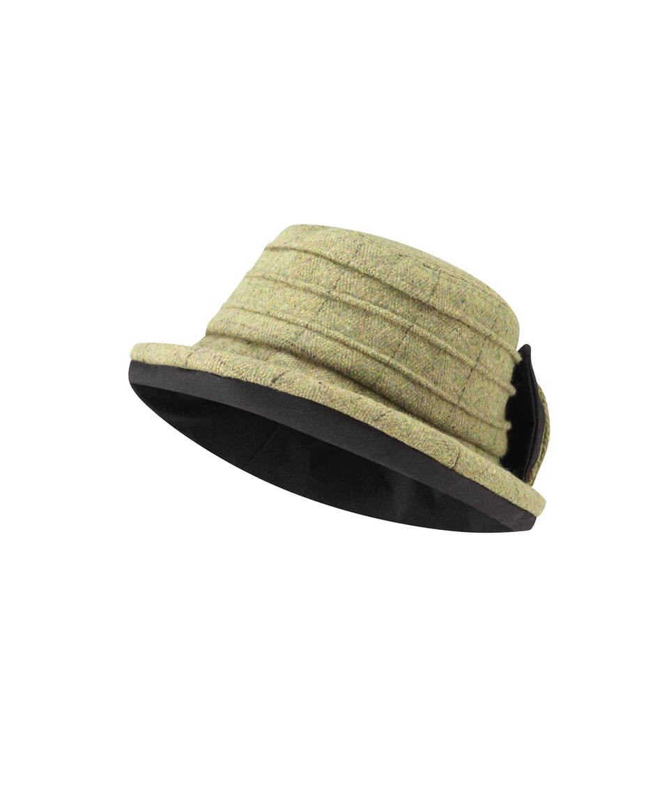 Ladies Bow Hat - Sand Tweed
