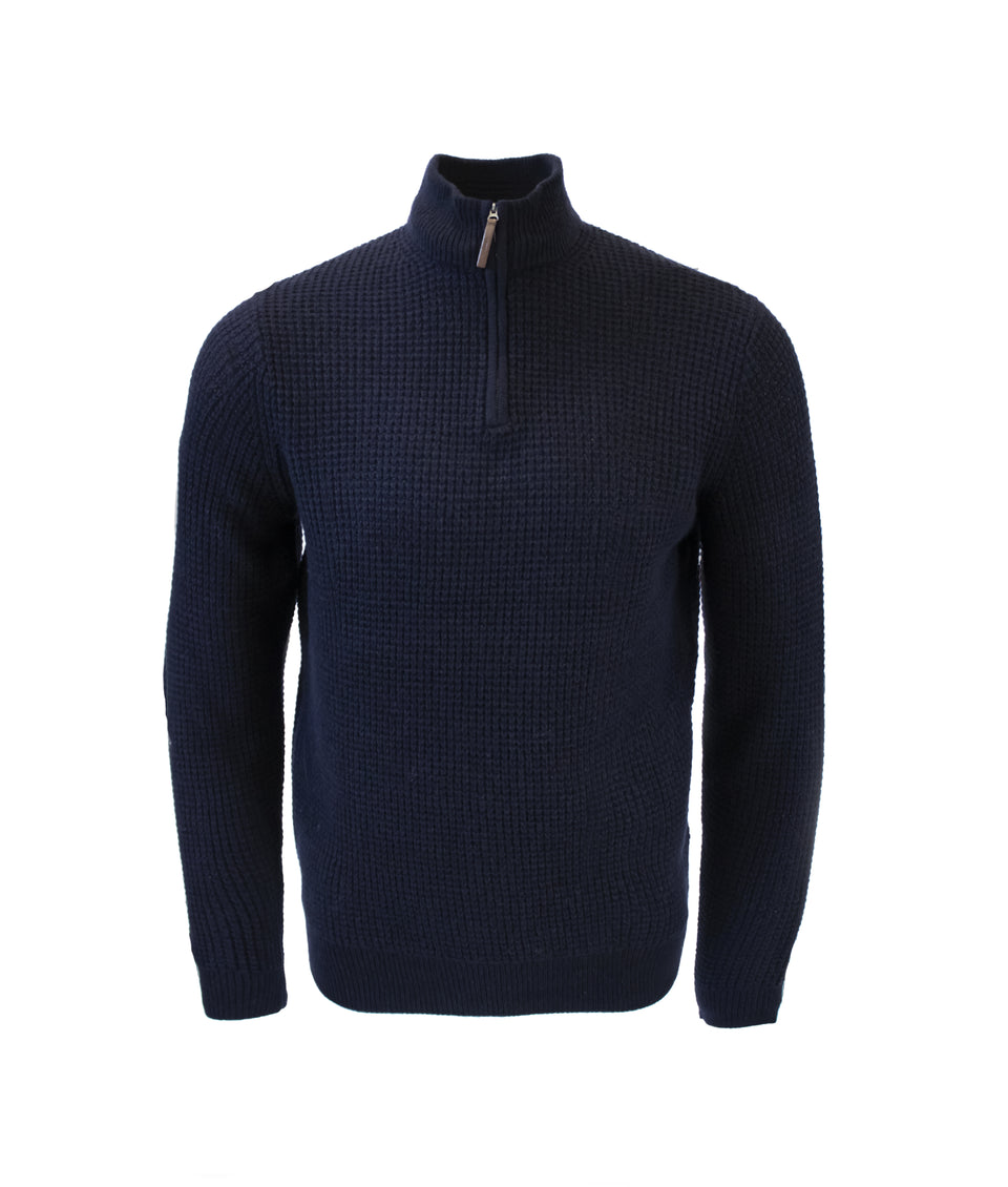 Zip Neck Jumper - Midnight Navy