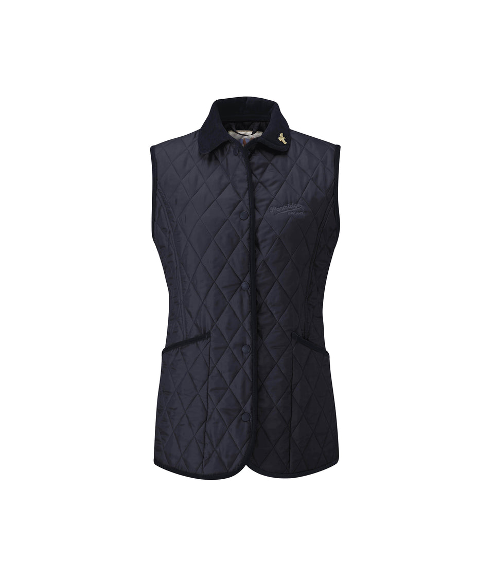 Moorland Quilted Gilet - Navy/Claret