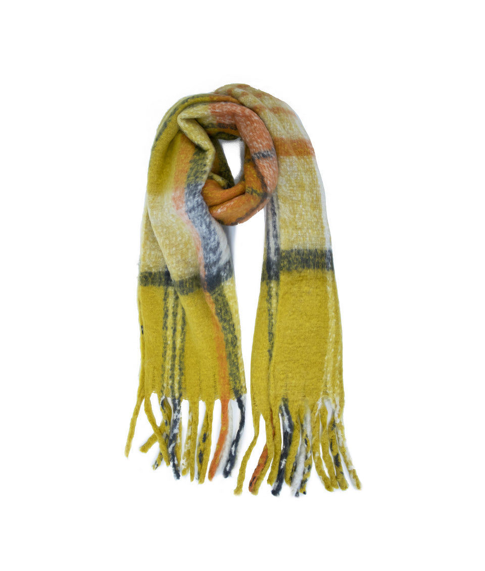 Ladies Scarf - Mustard and Orange Check