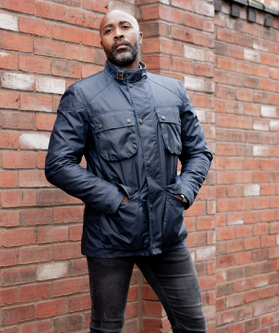S6 Wax Biker Jacket - Navy