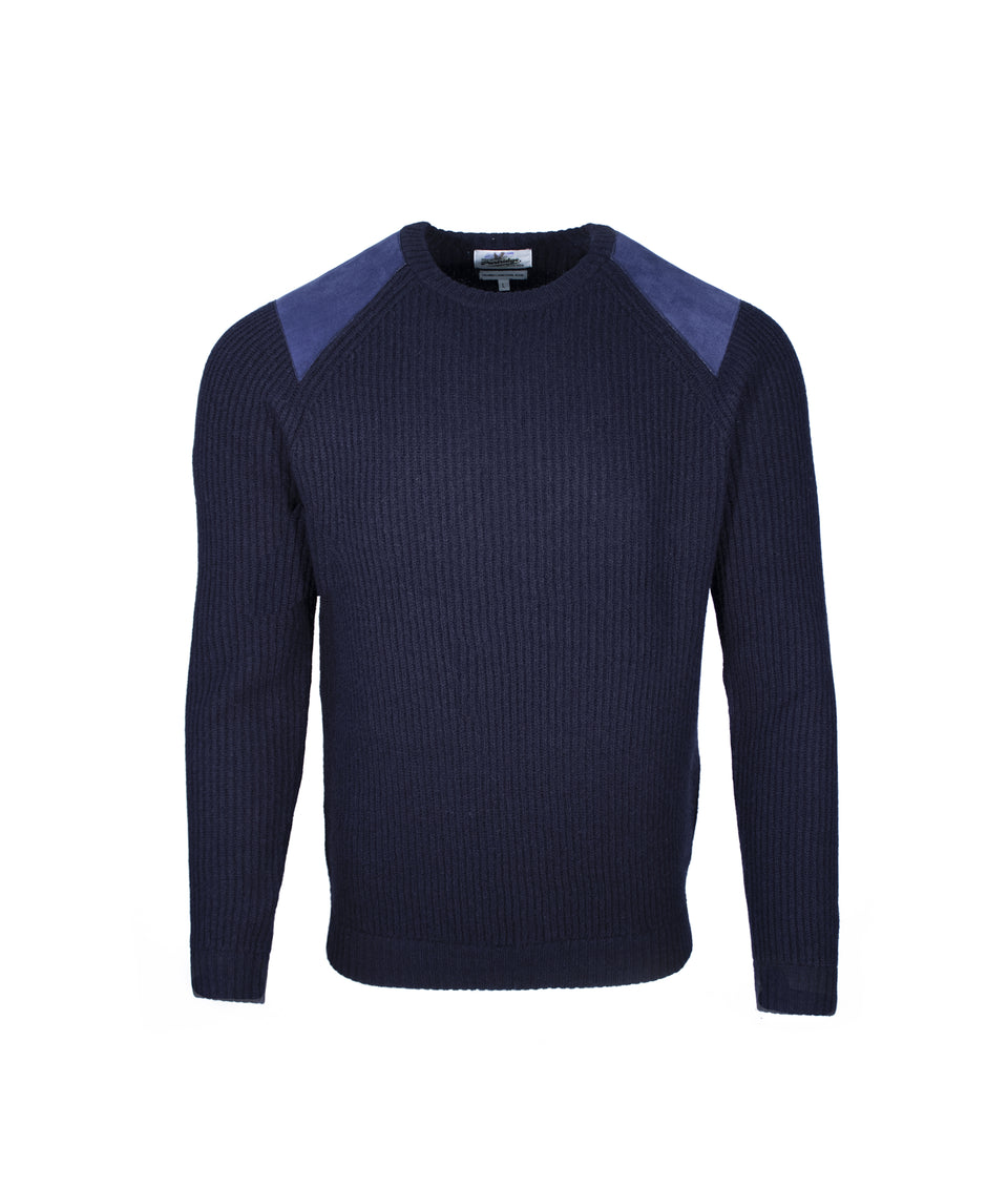 Fisherman Crew Neck Jumper - Midnight Navy
