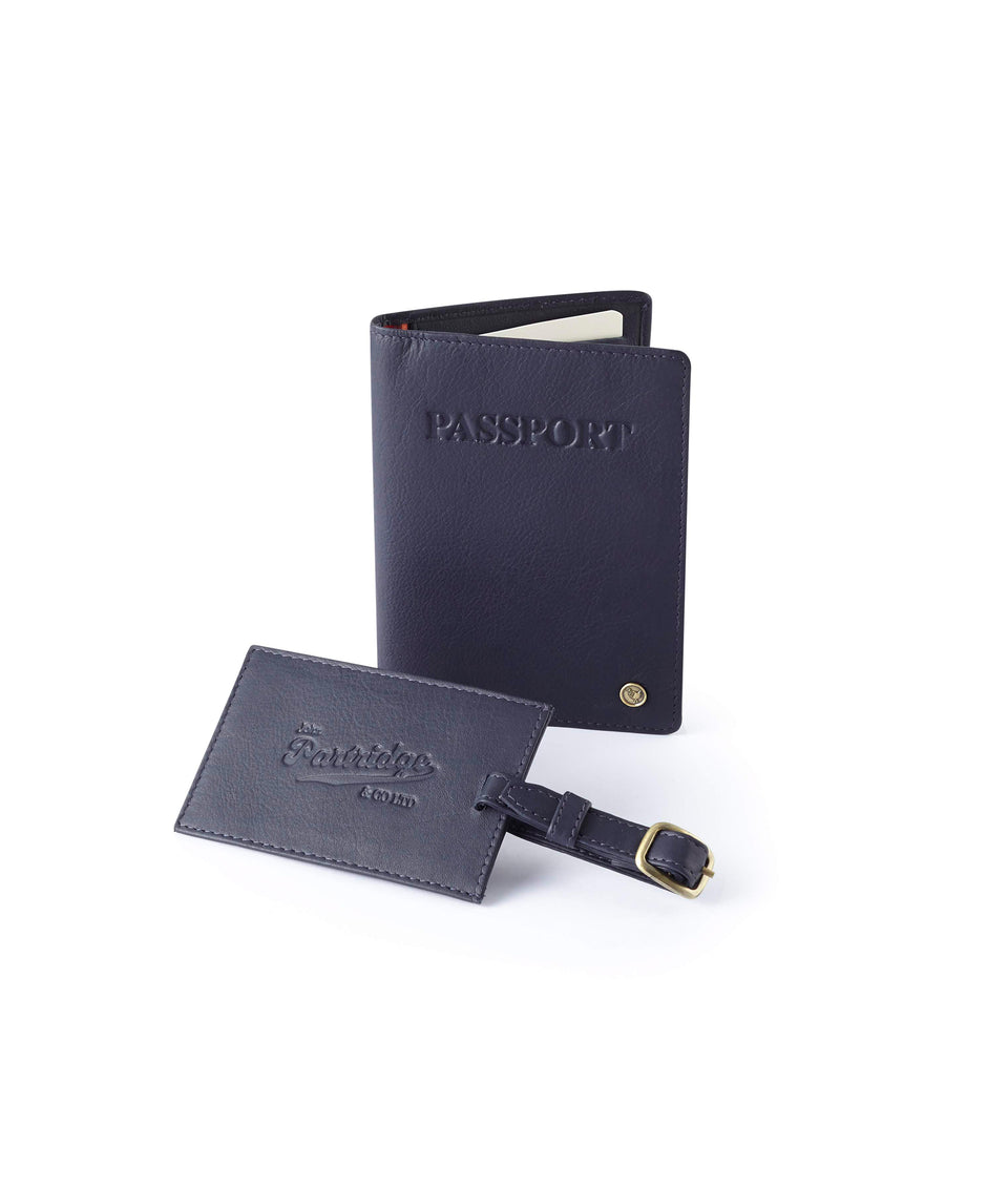 Travel Gift Sets - Classic Leather Navy