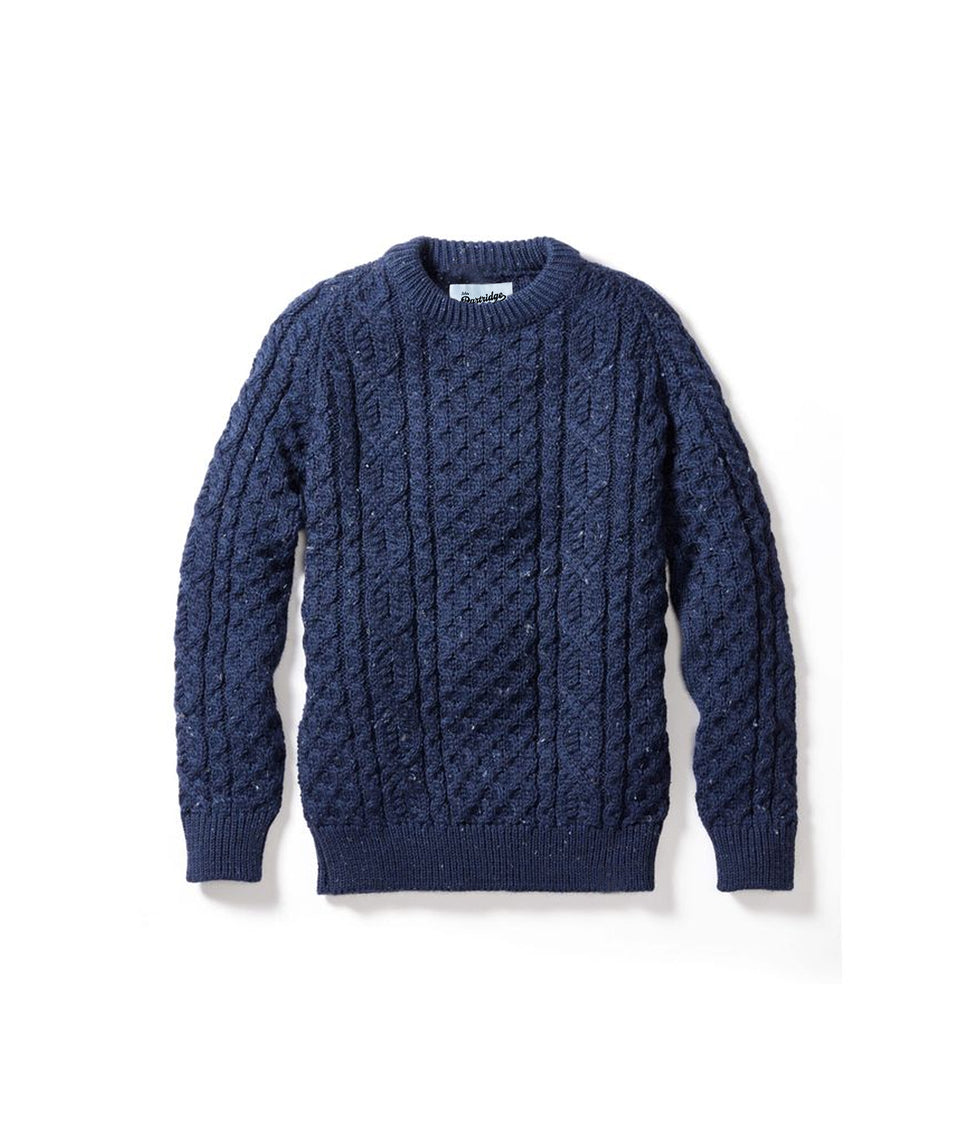 Aran Crew Neck Jumper - Navy