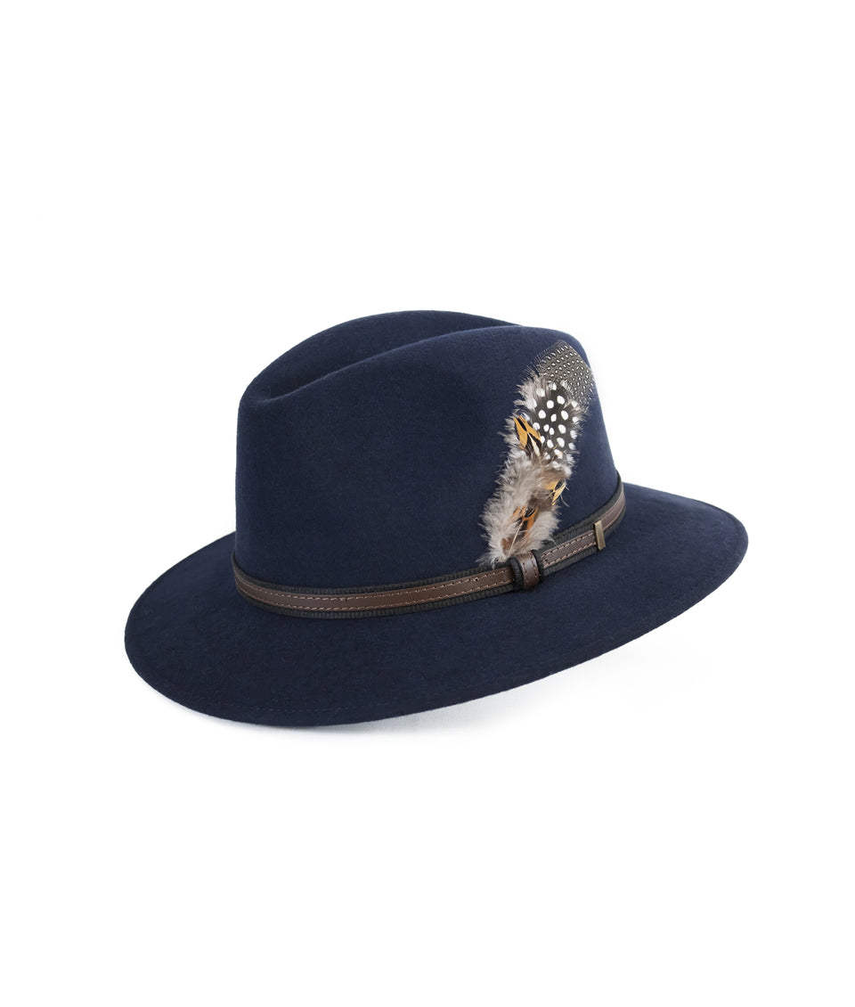 Fedora Wool Hat - Navy