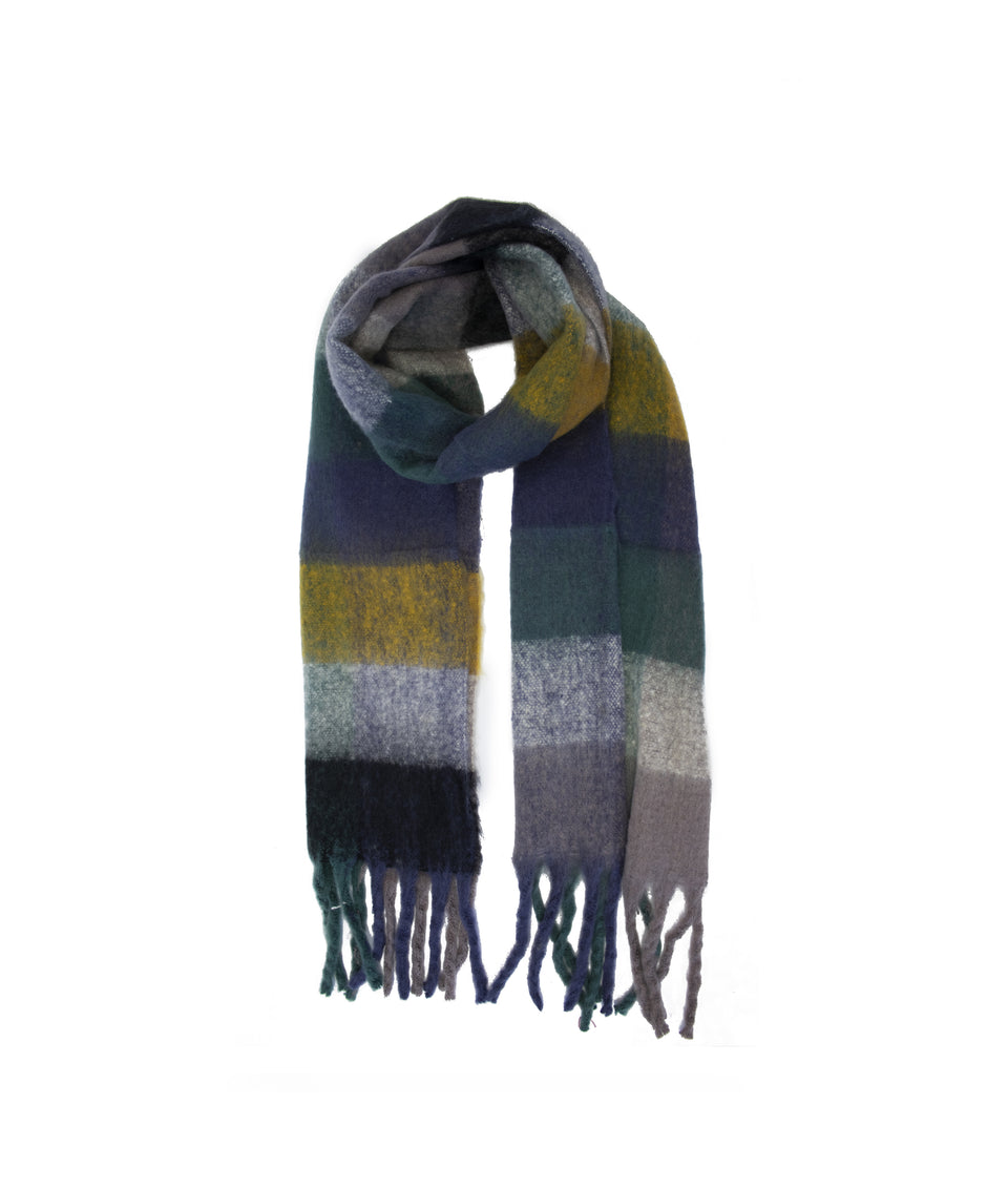 Ladies Scarf - Blue and Mustard Check