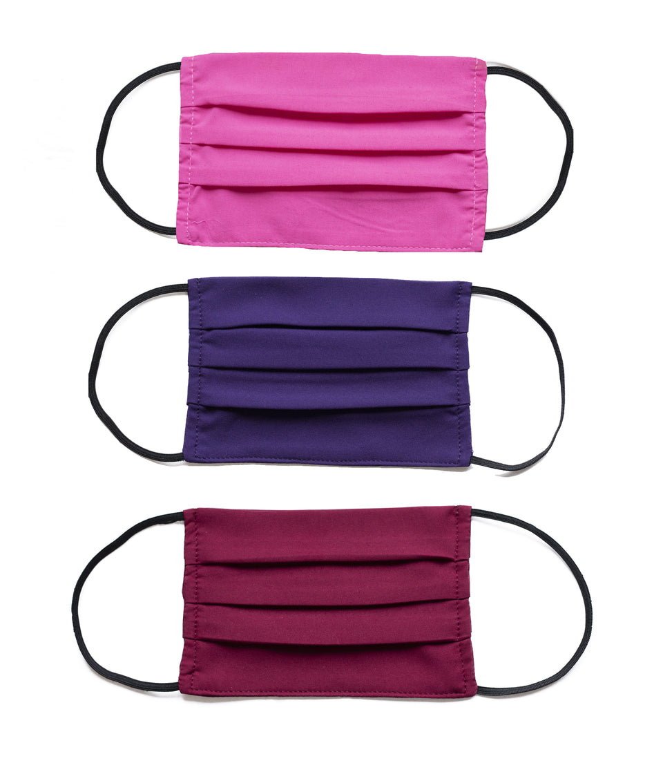 3PK Washable Face Covering -Retro Colour Block Pinks