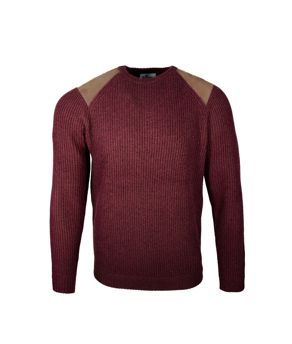Fisherman Crew Neck Jumper- Preserve Burgundy