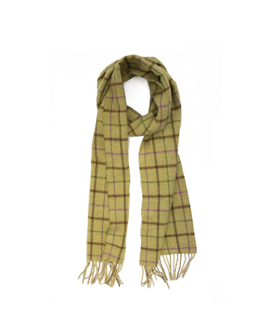 Lambswool Check Scarf -  Pistachio