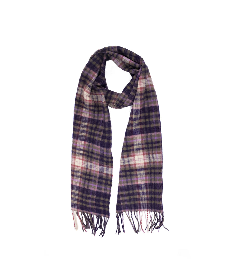 Lambswool Check Scarf - Purple Heather
