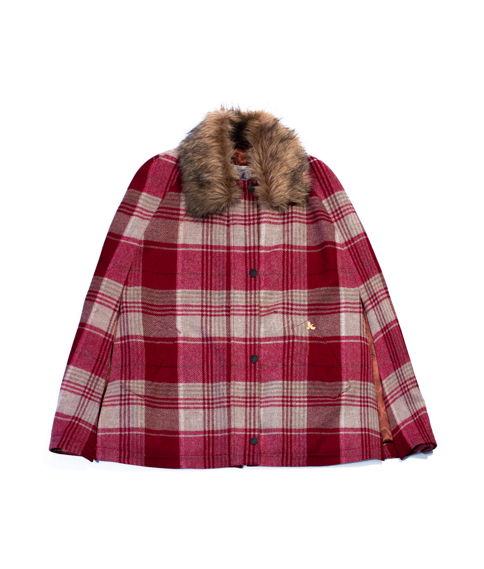 red and beige tartan cape