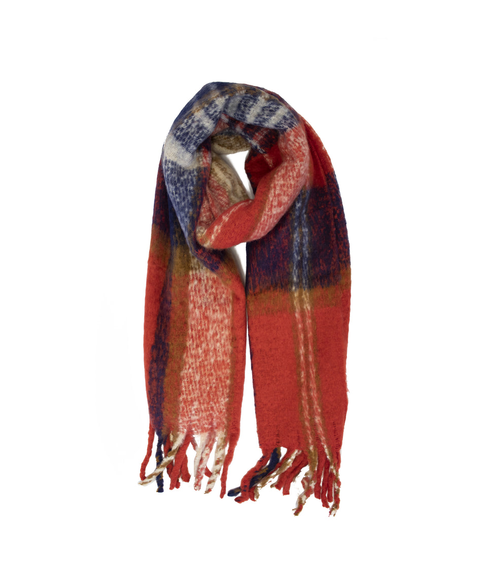 Ladies Scarf - Red and Navy Check
