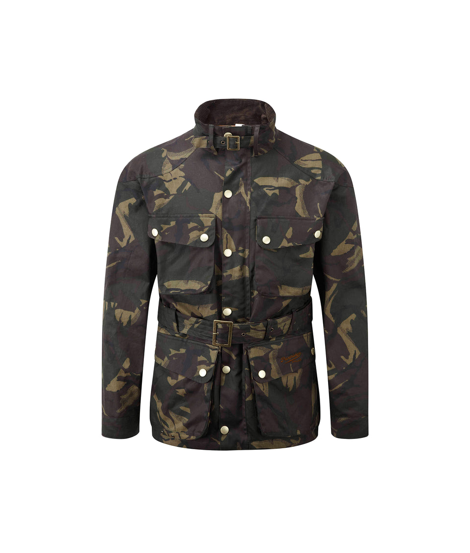 Speed 6 Wax Biker Jacket - Olive Camo