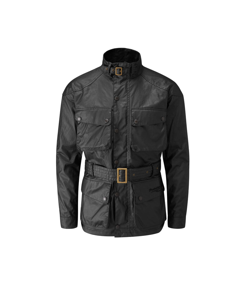 Speed 6 Lightweight Wax Biker Jacket - Black