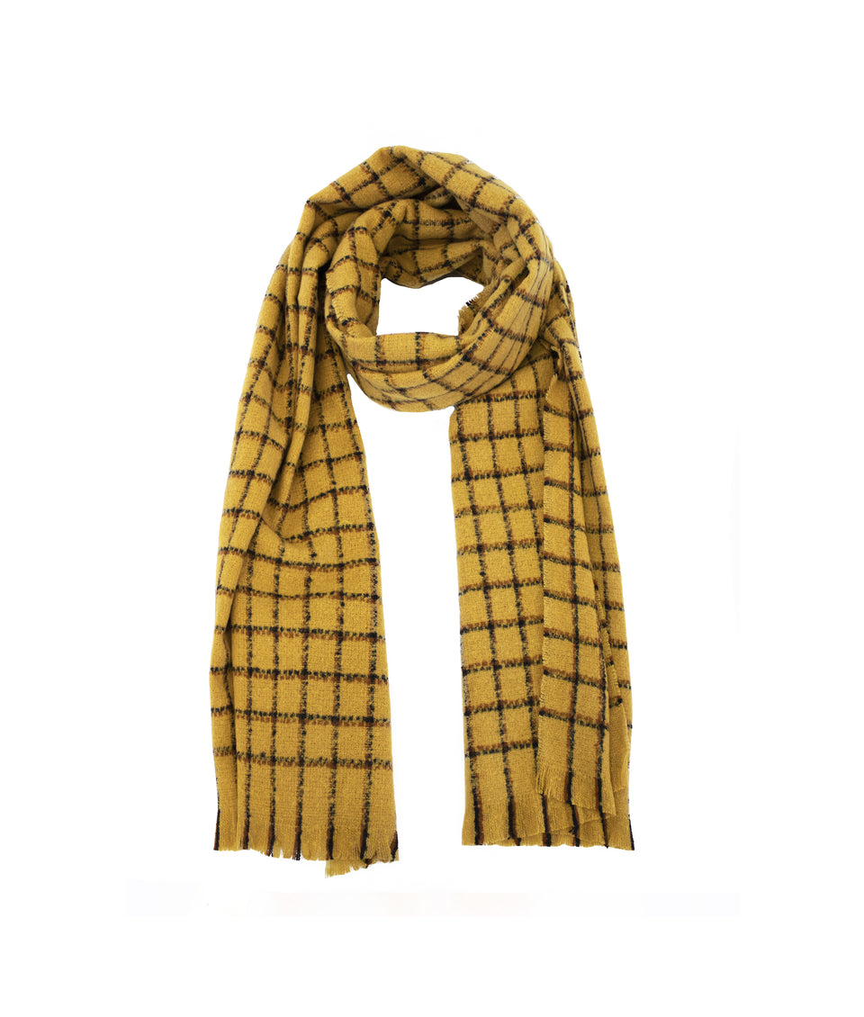 Ladies Scarf - Mustard and Black Square Check