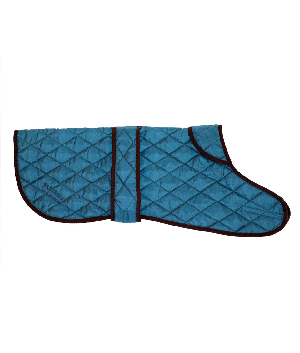 Petrol blue quilted dog coat