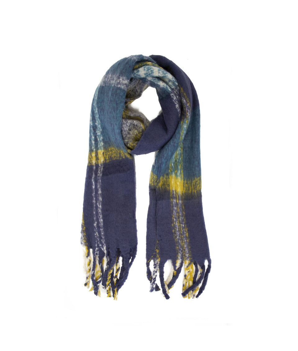 Ladies Scarf - Blue and Teal Check