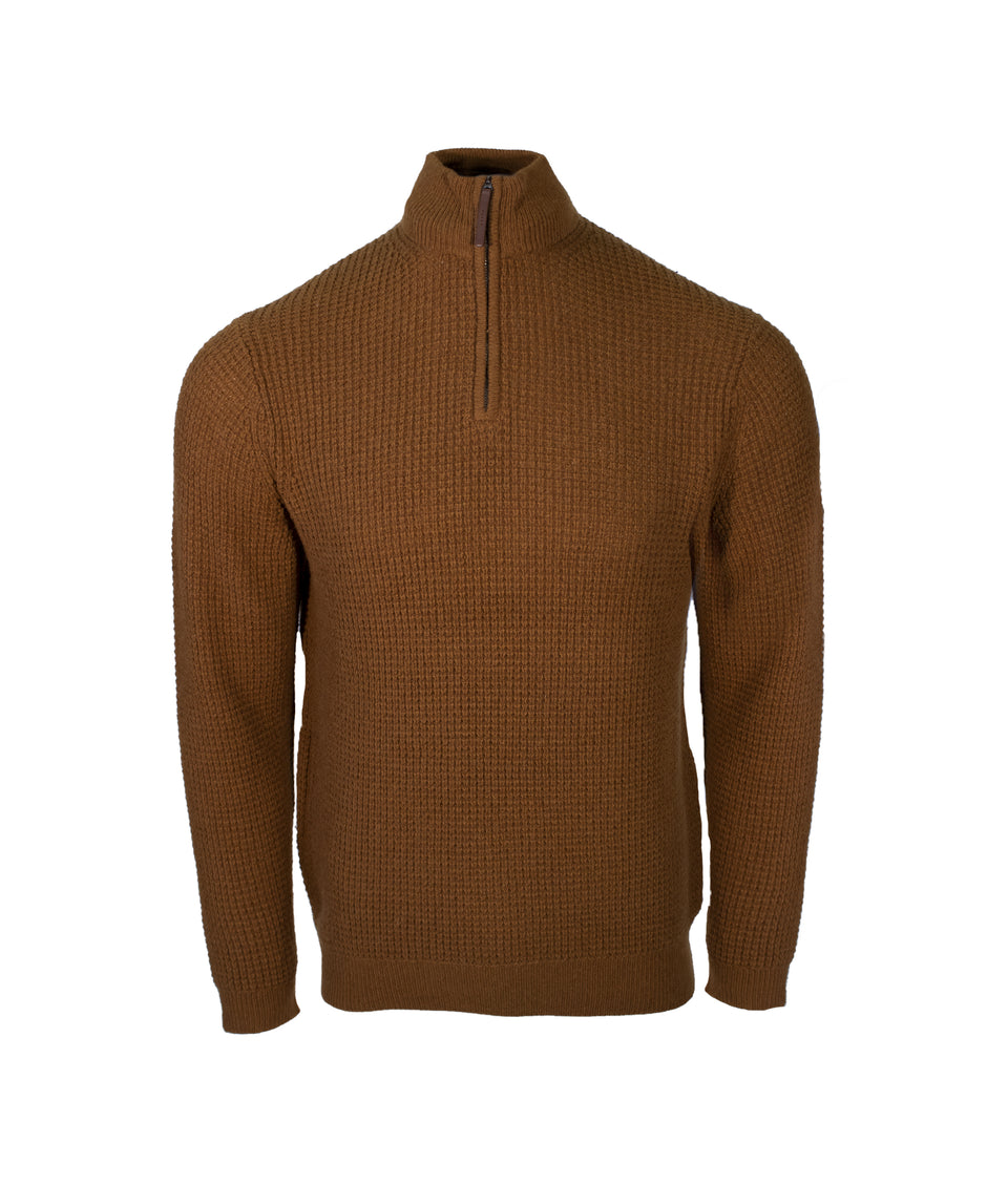 Zip Neck Jumper - Spiced Cider Brown