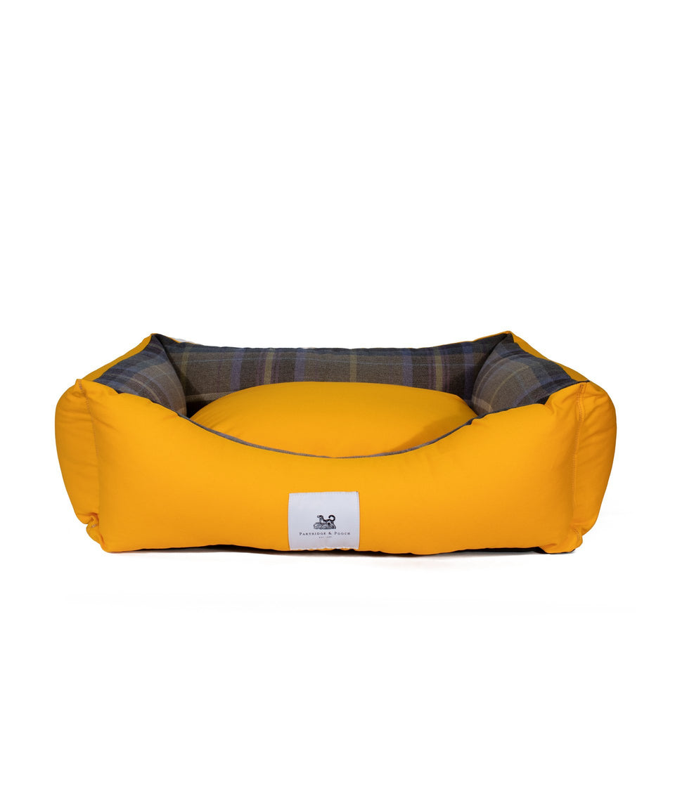 Yellow and check dog bed