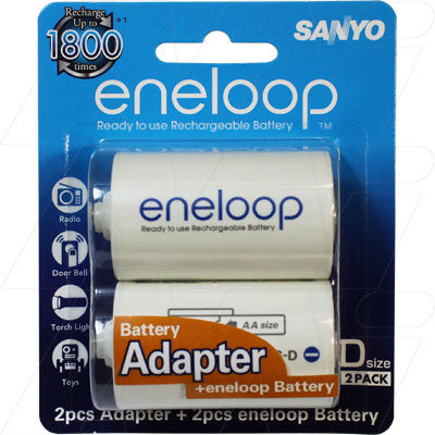 Picture of ENELOOP D SIZE ADAPTORS WITH 2 X AA RECHARGEABLE BATTERIES