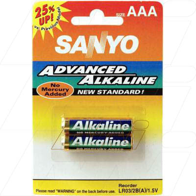 Picture of Sanyo Alkaline AAA Battery - Cylindrical Cell
