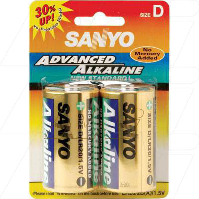 Picture of Sanyo alkaline battery - Size D - Cylindrical cell