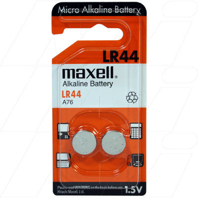 Picture of LR44 ALKALINE BATTERY. REPLACES 157, A76, AG13, G13A, GPA76, KA76, L1154, PX76A, PX76AB, RW82, SB-F9, V13GA
