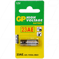 GP23A ALKALINE BATTERY REPLACES 1811A, 23A, 8F10R, 8LR32, 8LR932, A21, A23, BAT012, E23A, EL12, GP23A, K23A, L1028, LR23A, LRV08, MN21, MN23, MS21, N21, RV08, V23GA, VR22