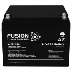 Lithium ION (LiFePo4) Fusion 12V 26AH Deep Cycle Battery