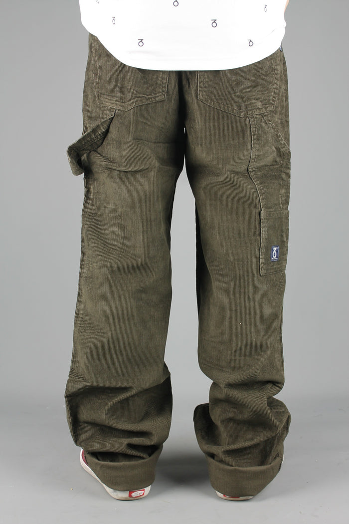 Carpenter Loose Fit Cord Trousers (Olive Brown)