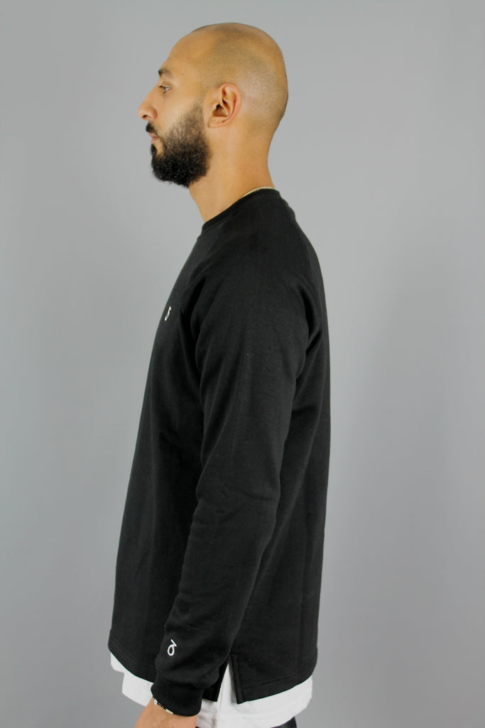 Essential Open Hem Sweatshirt (Black)