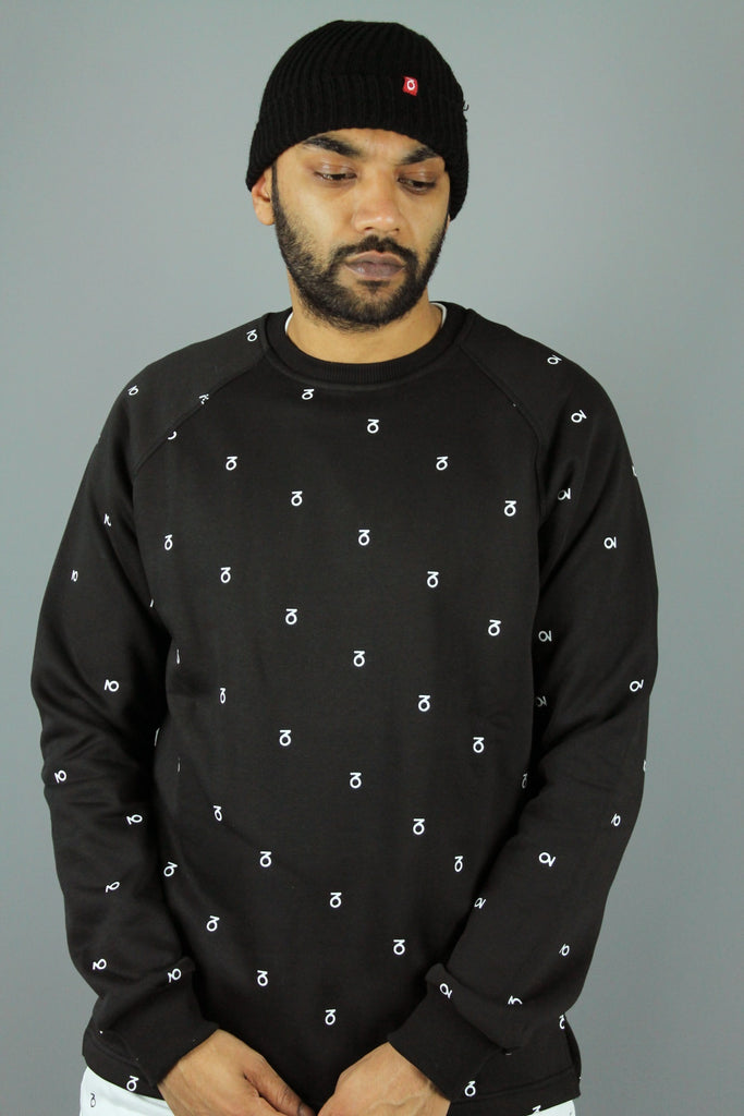 Logo Monogram Open Hem Sweatshirt (Black)
