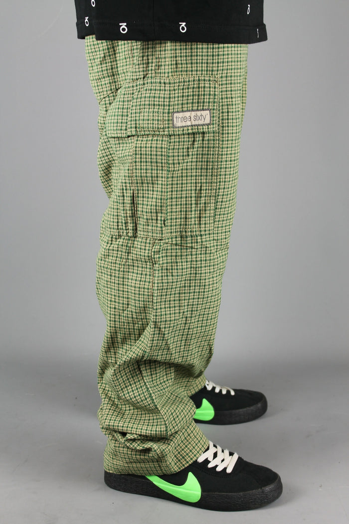 M700 Plaid Cargo Surf Beach Pants (Beige/Green)