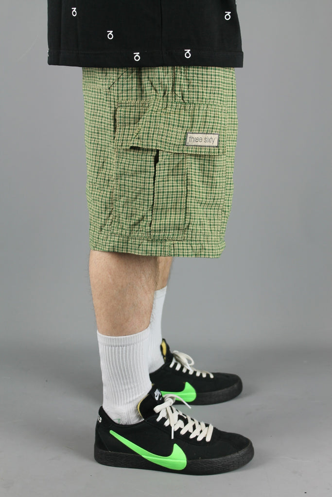 MS700 Plaid Cargo Surf Beach Shorts (Beige/Green)