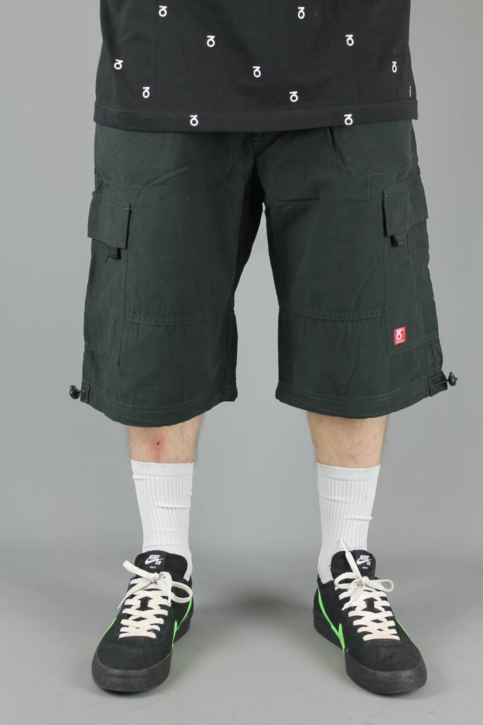 SRT001 Loose Fit Cotton Cargo Shorts (Black)