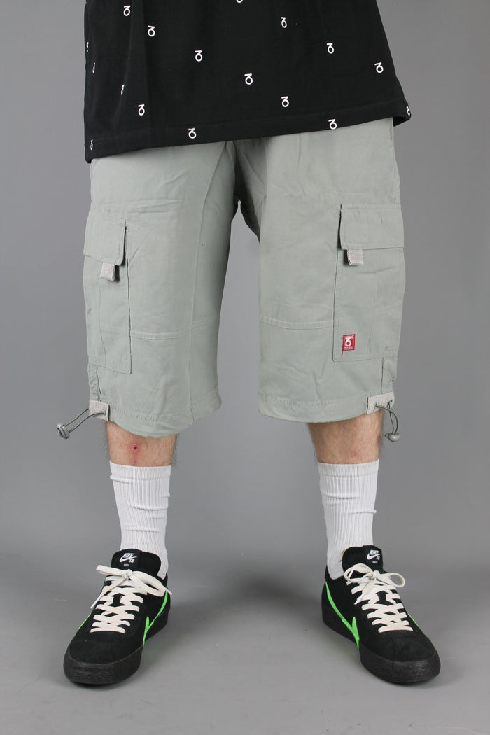 SRT001 Loose Fit Cotton Cargo Shorts (Mid Grey)