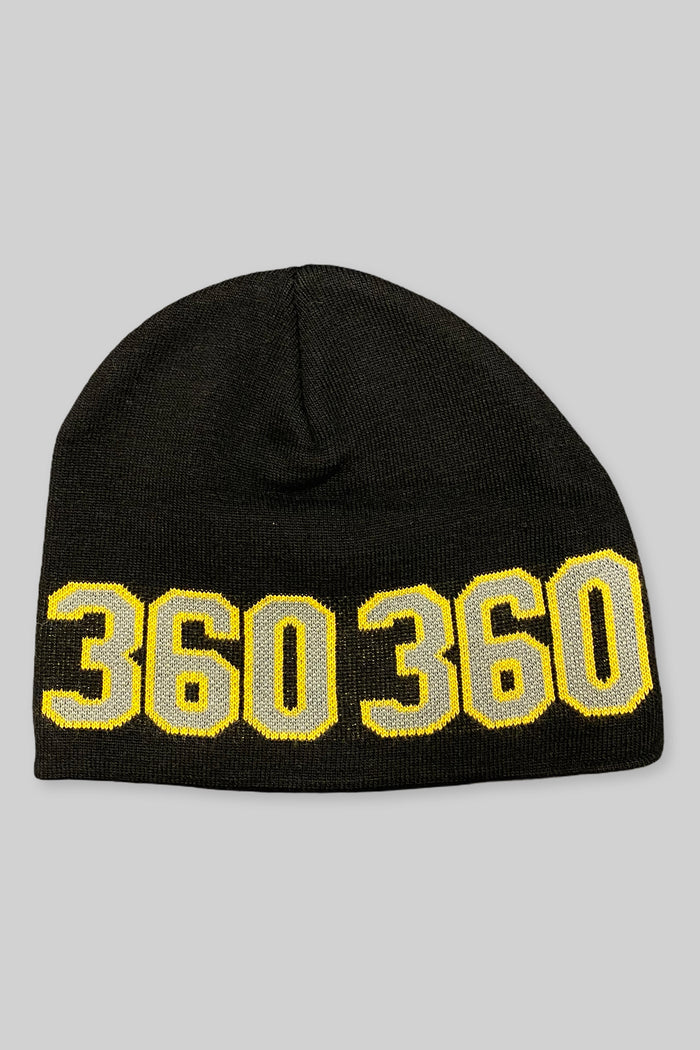 360 Wraparound Beanie (Black/Grey/Yellow)