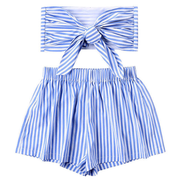 2 Piece Striped Shorts & Knotted Top Set