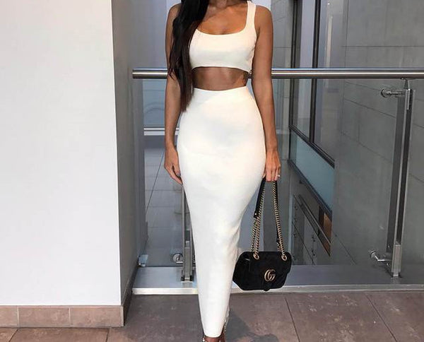 2 Piece Ribbed Crop Top and Skirt